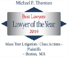 "Logo, Michael Thornton, Best Lawyers 'Lawyer of the Year"" 2019 Mass Tort Litigation/Class Actions-Plaintiffs-Boston,"
